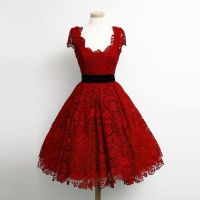 Charming Dark Red Lace Cap Sleeve Prom Party Dresses 2015 ...