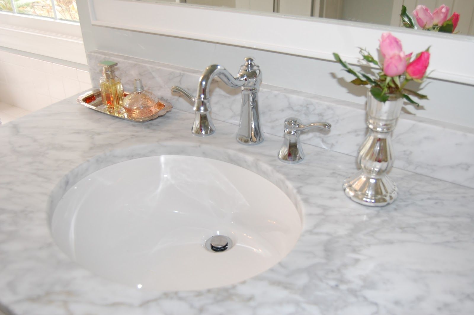 White Cultured Marble Carrera Bathroom Vanity Tops Include Round Undermount Sink And Chrome