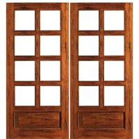 AAW Inc. Rustic 8-Lite Panel Double Interior French Doors ...