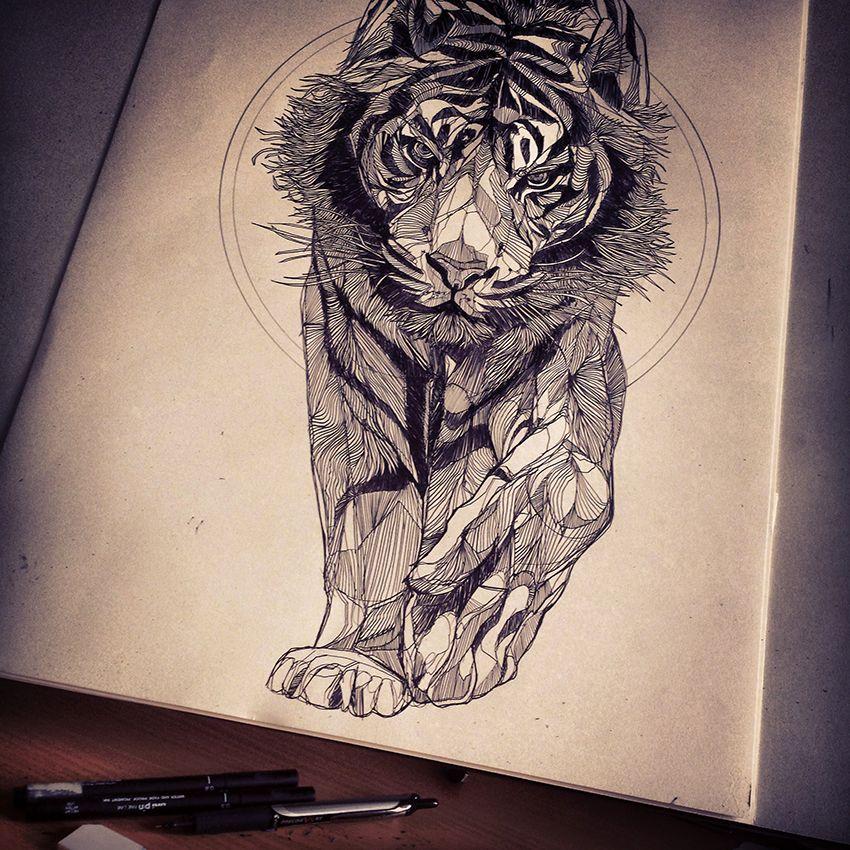 Half Human Half Face Tiger Face Sketch
