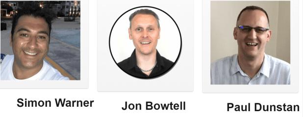: Simon Warner, Jon Bowtell, Paul Dunstan