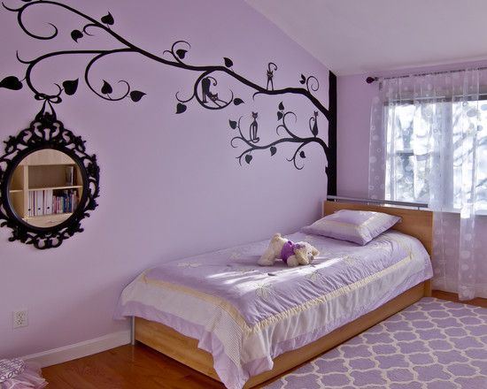 Bedroom, Wonderful Purple Teenage Room For Girls With