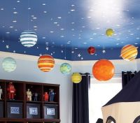kids room ceiling ideas with blue painted ceiling and ...