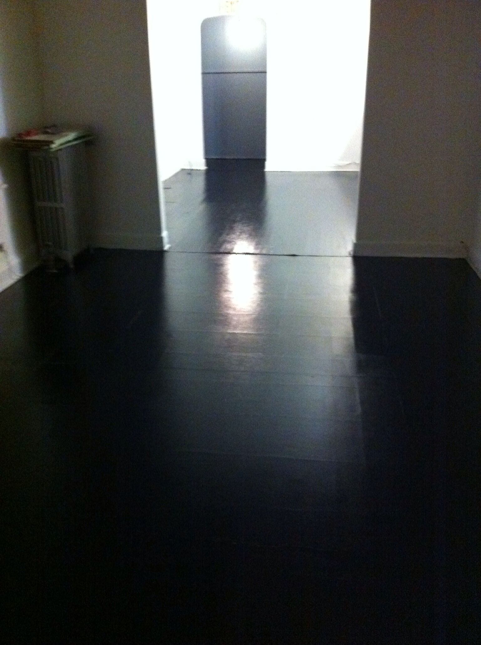 Painted wood and vinyl floor black high gloss  Painted