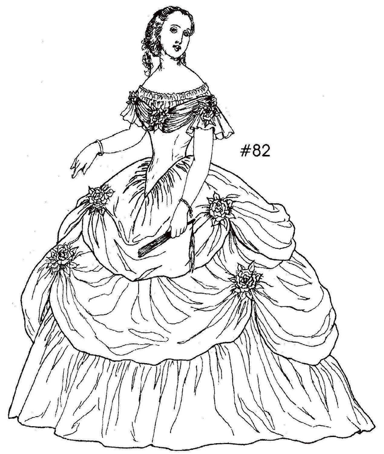 1864 Civil War Era Ball Gown Sewing Pattern for a 24 Inch