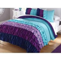 3pc Girl Teal Purple Ruffle Full Queen Comforter Set The ...