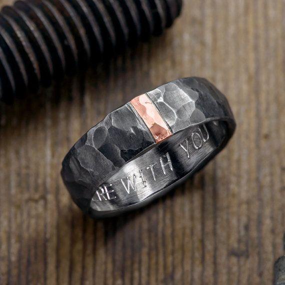 6mm Hammered Mens Wedding Ring 14k Rose Gold By