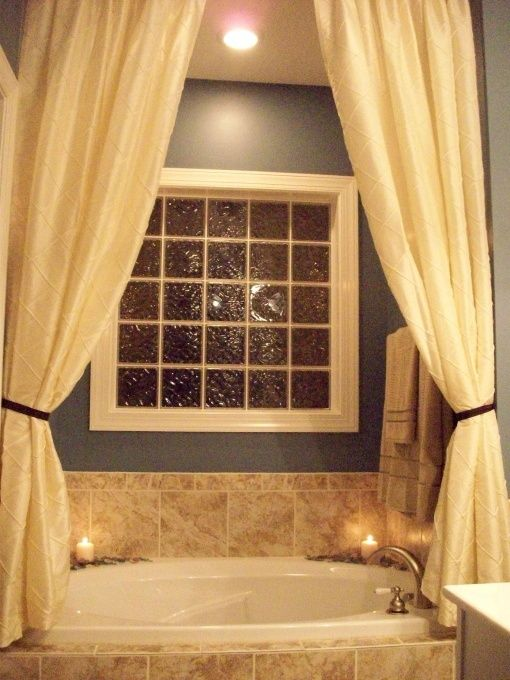 Love the idea of putting curtains over tub  For the Home  Pinterest  Tubs Bath and House