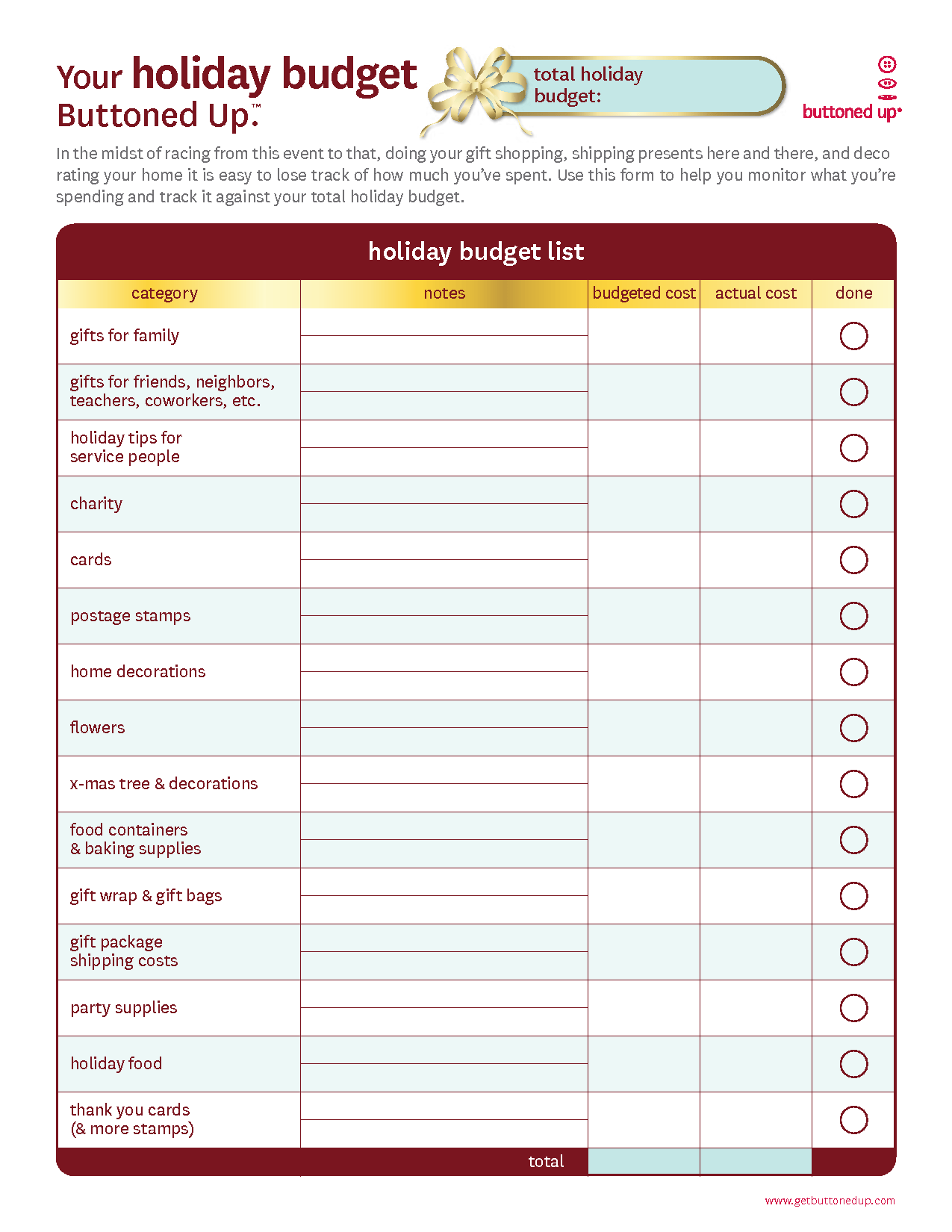 Free Printable Personal Budget Worksheet