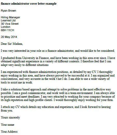 Finance Administrator Cover Letter Example  job