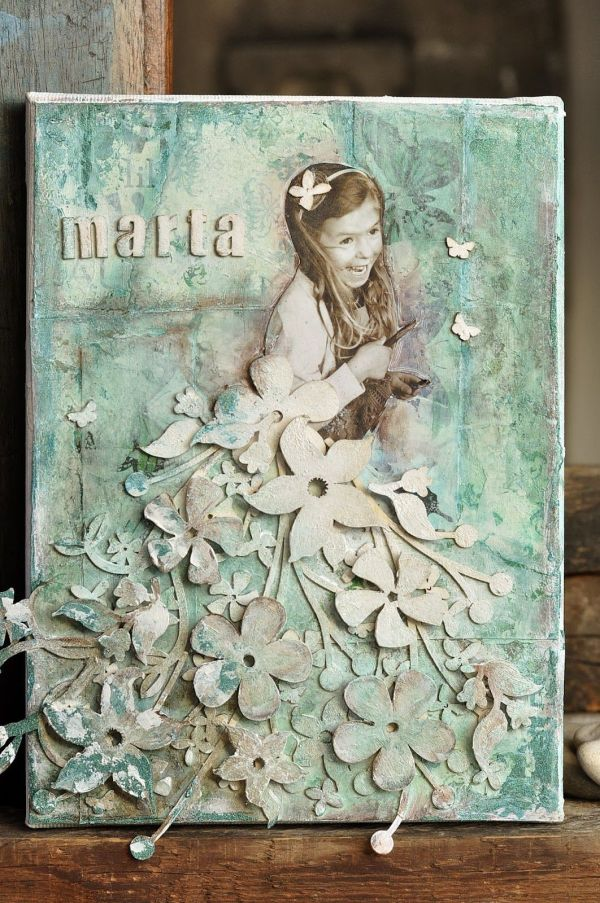 Cynkowe Poletko-love Dress Mixed Media Canvas And