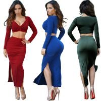 WOMEN TWO PIECE DEEP V OUTFITS AUTUMN WINTER BANDAGE