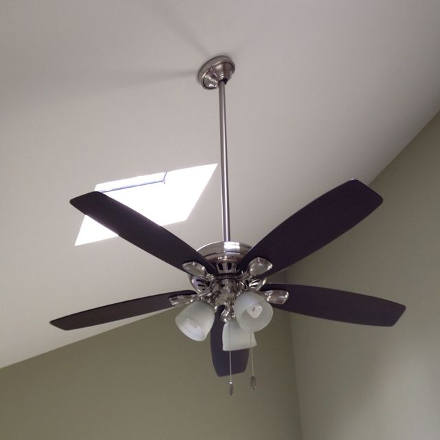 New Hunter Highbury ceiling fan with 3ft downrod installed