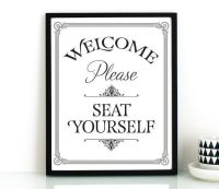 Funny bathroom wall art PRINTABLE,Please seat yourself ...