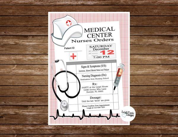 Printable Nurse Graduation Invitation Rn Bsn