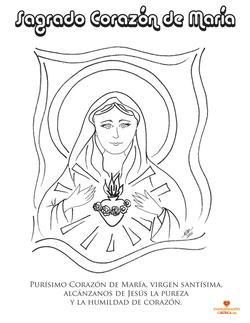Dibujo para colorear. Sagrado Corazón de María. www