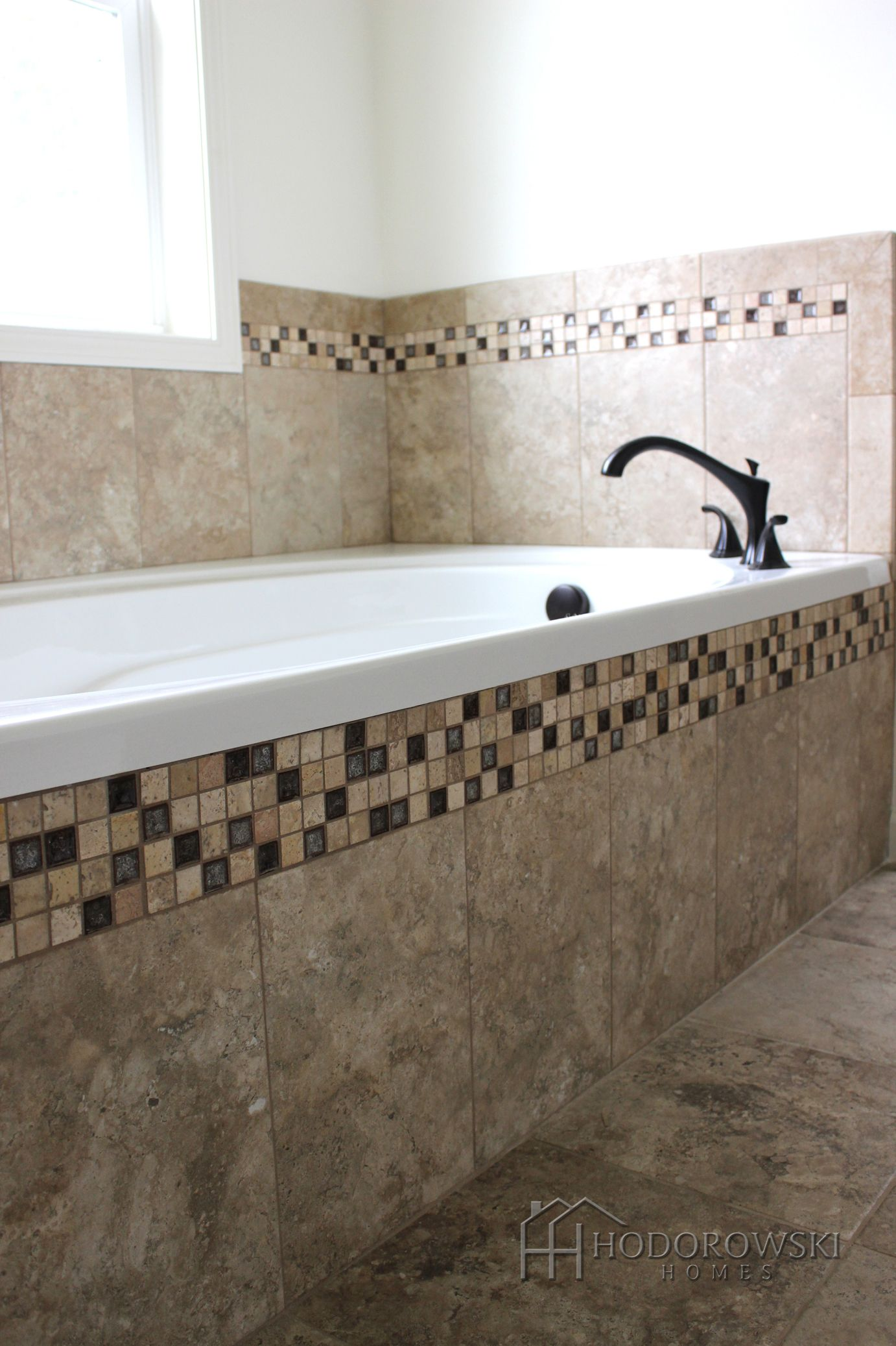 This Earthy Garden Tub Is Belmar Pewter Tile Master Bathrooms