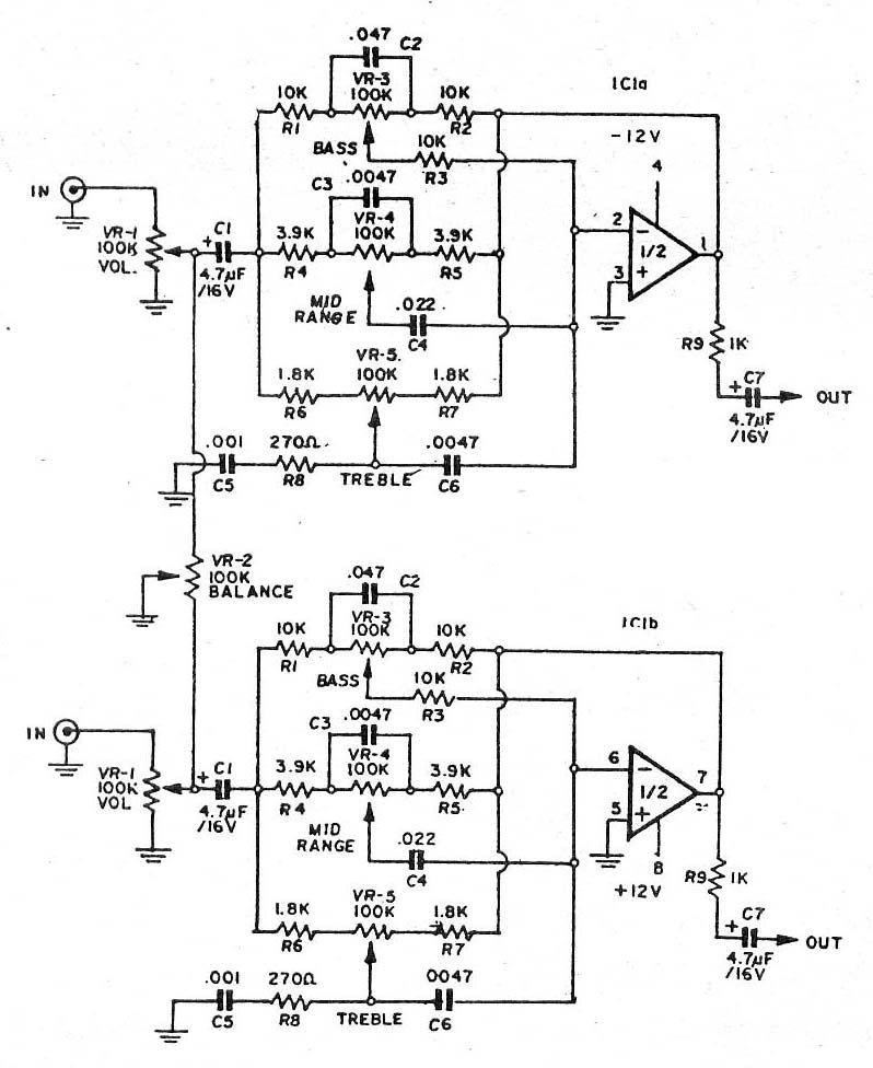 Three circuits of preamp tone controls using an NE5532