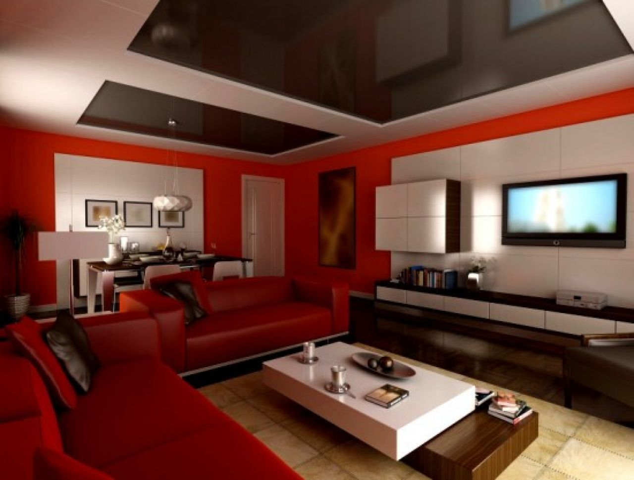 Living Room Two Tone Painting Idea With Gray And White Color