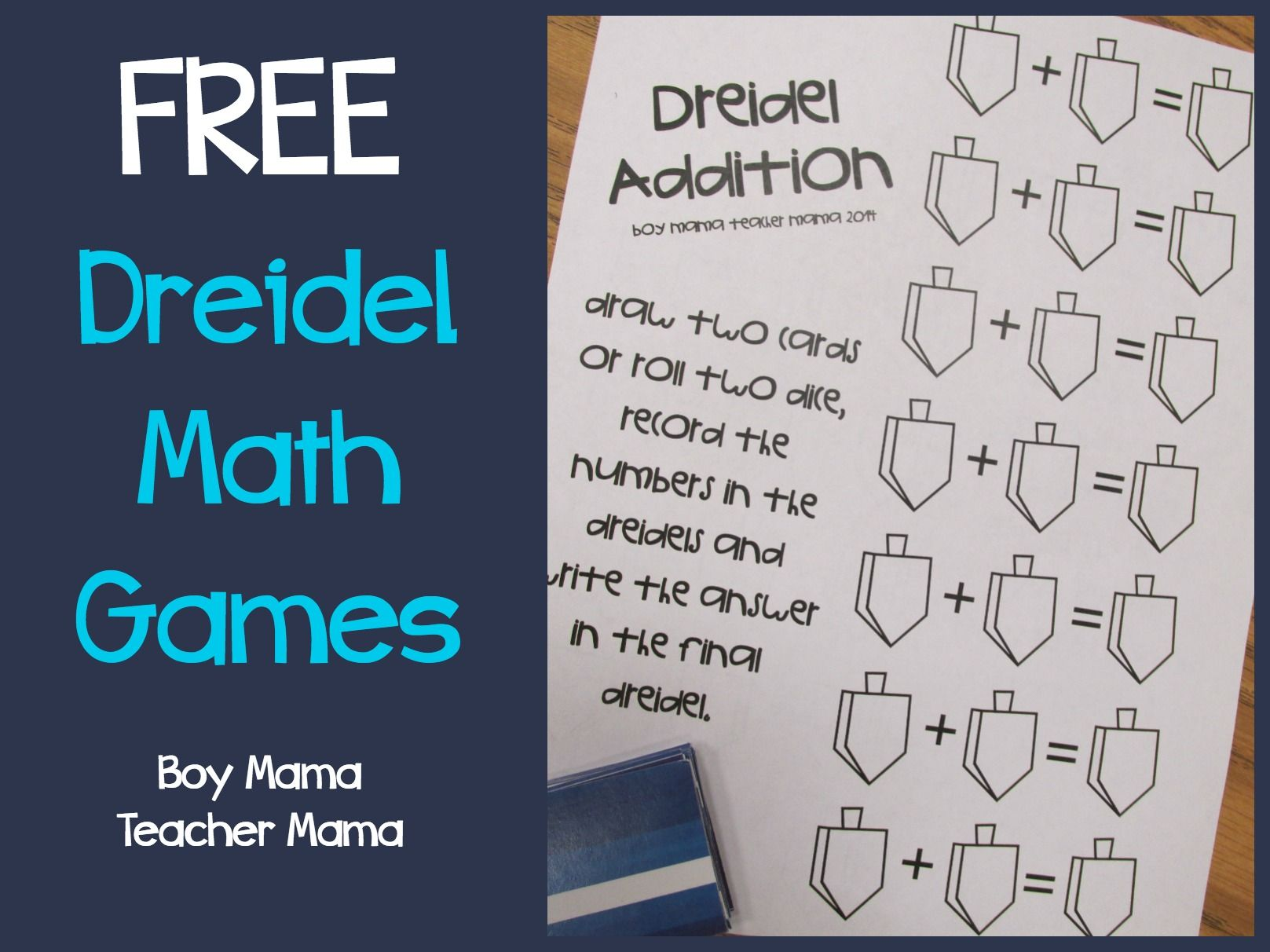Boy Mama Teacher Mama Free Printable Dreidel Math Game