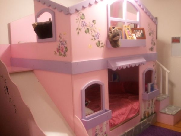 Girls Princess Castle Bunk Bed with Slide