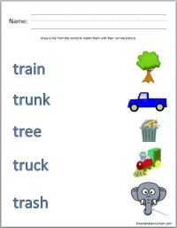 tr consonant blend phonics worksheet match the words with ...