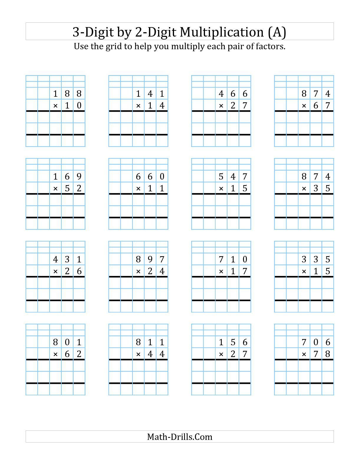 3 Digit By 2 Digit Multiplication With Grid Support A Math Worksheet Freemath