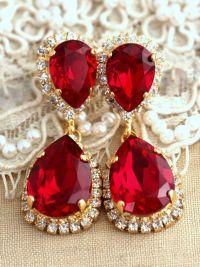 Ruby Chandelier earrings, Bridal Ruby Earrings By Ilona ...