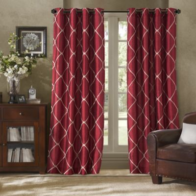 Bombay™ Garrison Grommet Window Curtain Panel Pewter Red