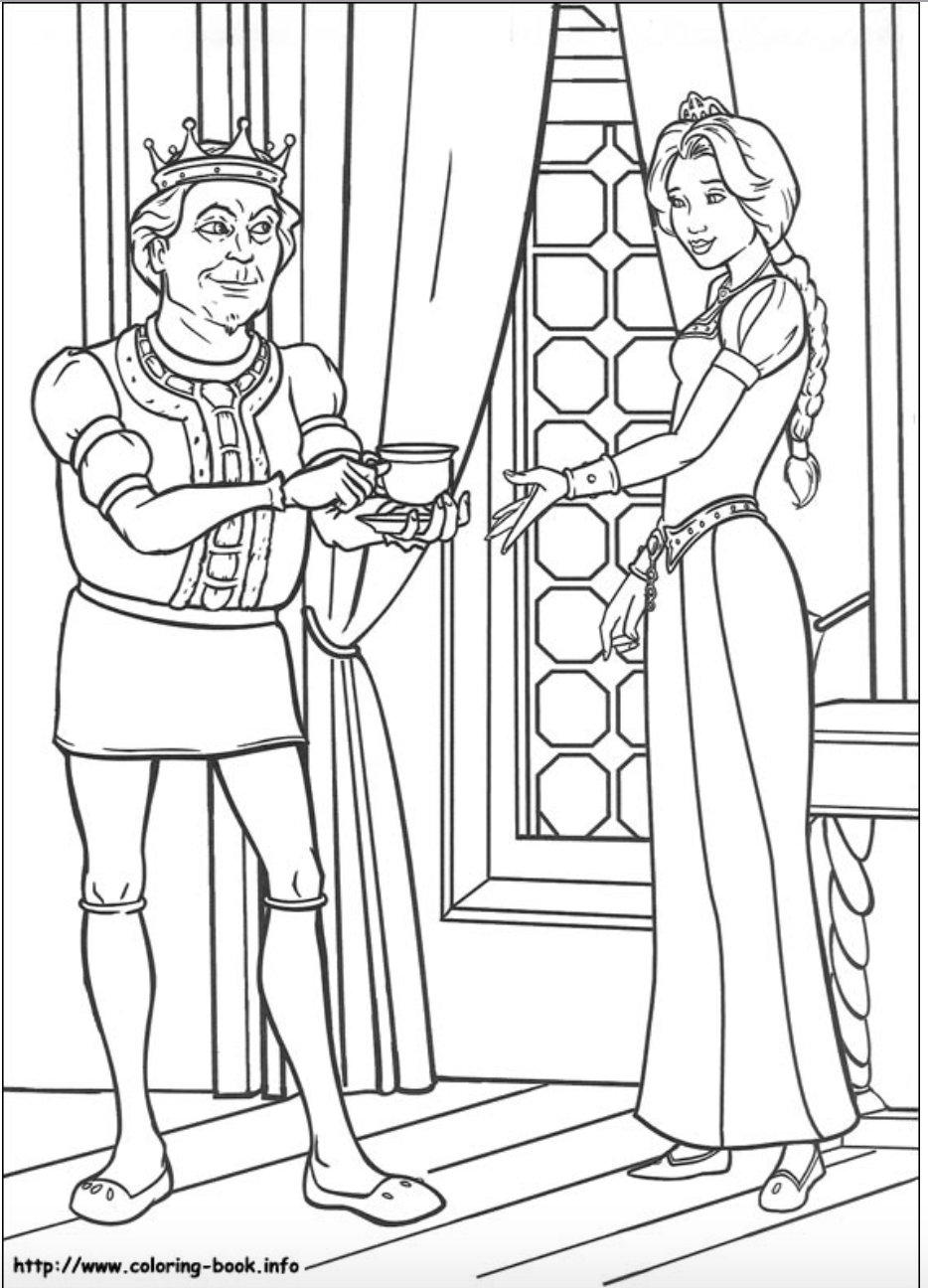 Princess Fiona and her Father, King Harold coloring page