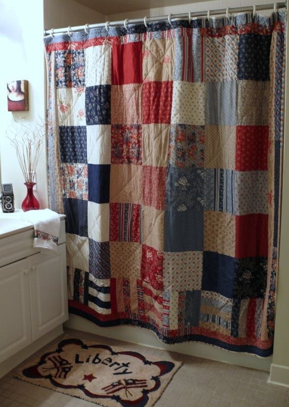 Awesome Quilted Shower Curtain Maybe In Softer Colors! Sewing