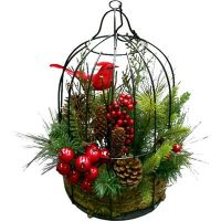 December Home Red Bird in Cage Christmas Decoration ...