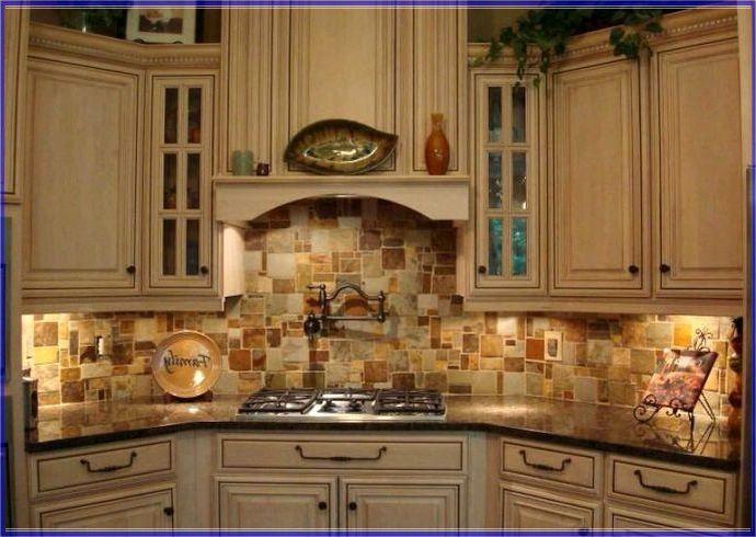 stone copper tiles backsplash