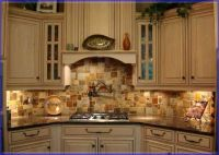 stone copper tiles backsplash