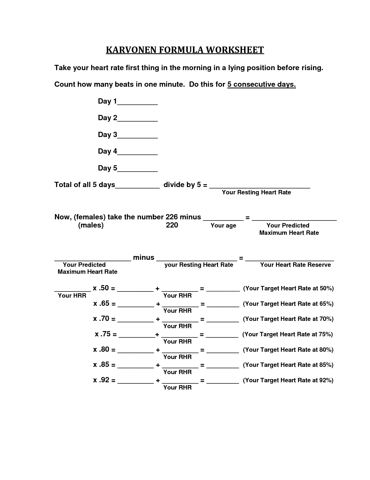 Karvonen Formula Worksheet
