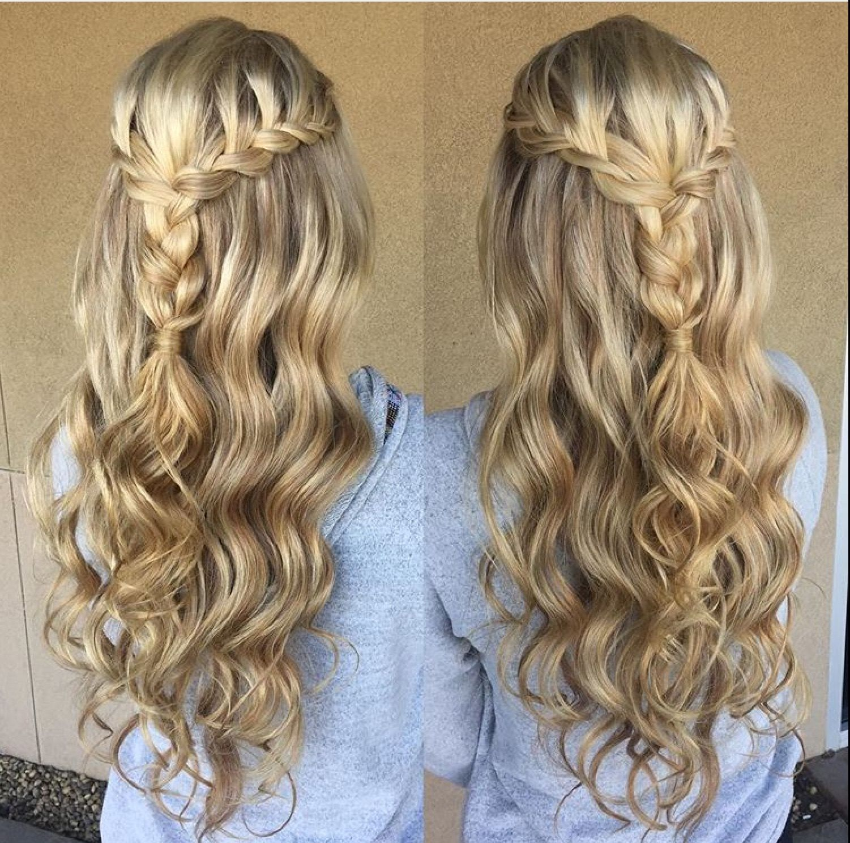 Blonde braid prom formal hairstyle half up long hair