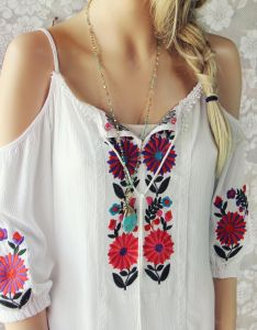 Gorgeous mexican embroidered details adorn this bohemian tunic dress designed with  white base also the senora shoulder sleeve designs and tassels rh pinterest