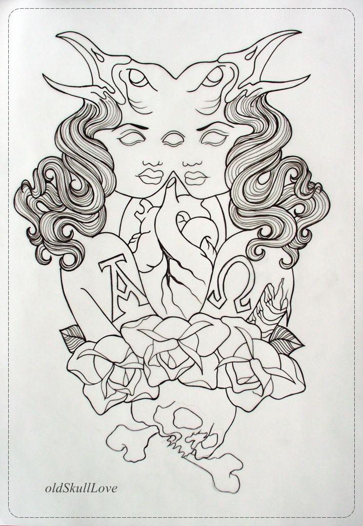 Outline Rose Flash Tattoos Oldskulllovebymw Skull