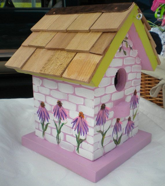 Birdhouse Painting Designs Forget Me Not Hand Painted Bird House