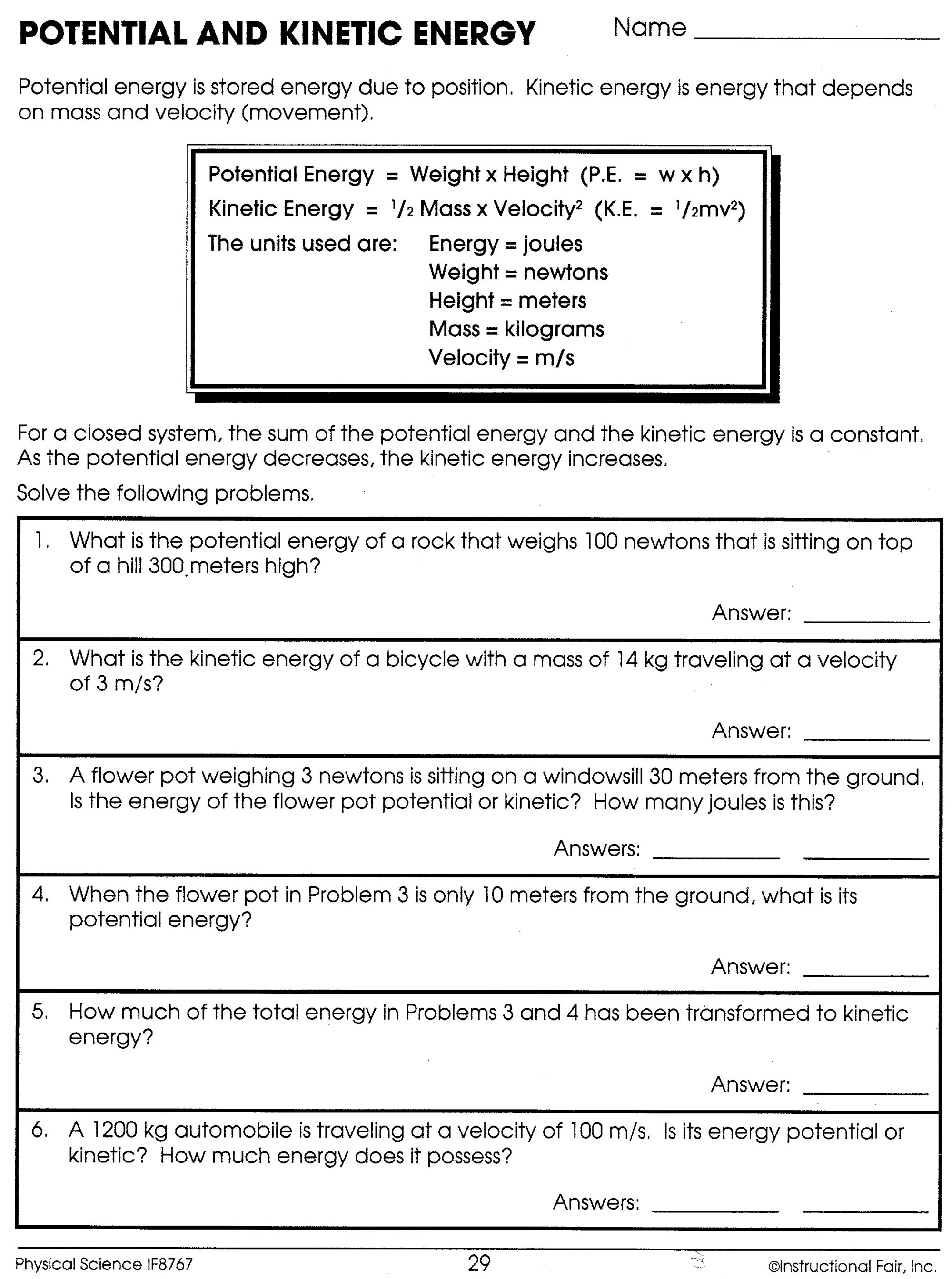 hight resolution of 32 Kinetic And Potential Energy Worksheet Answers Key - Worksheet Resource  Plans