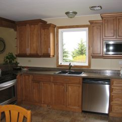 Maple Countertops Kitchen Bronze Pull Down Faucet Cabinets Wheatfield With Black Glaze Countertop