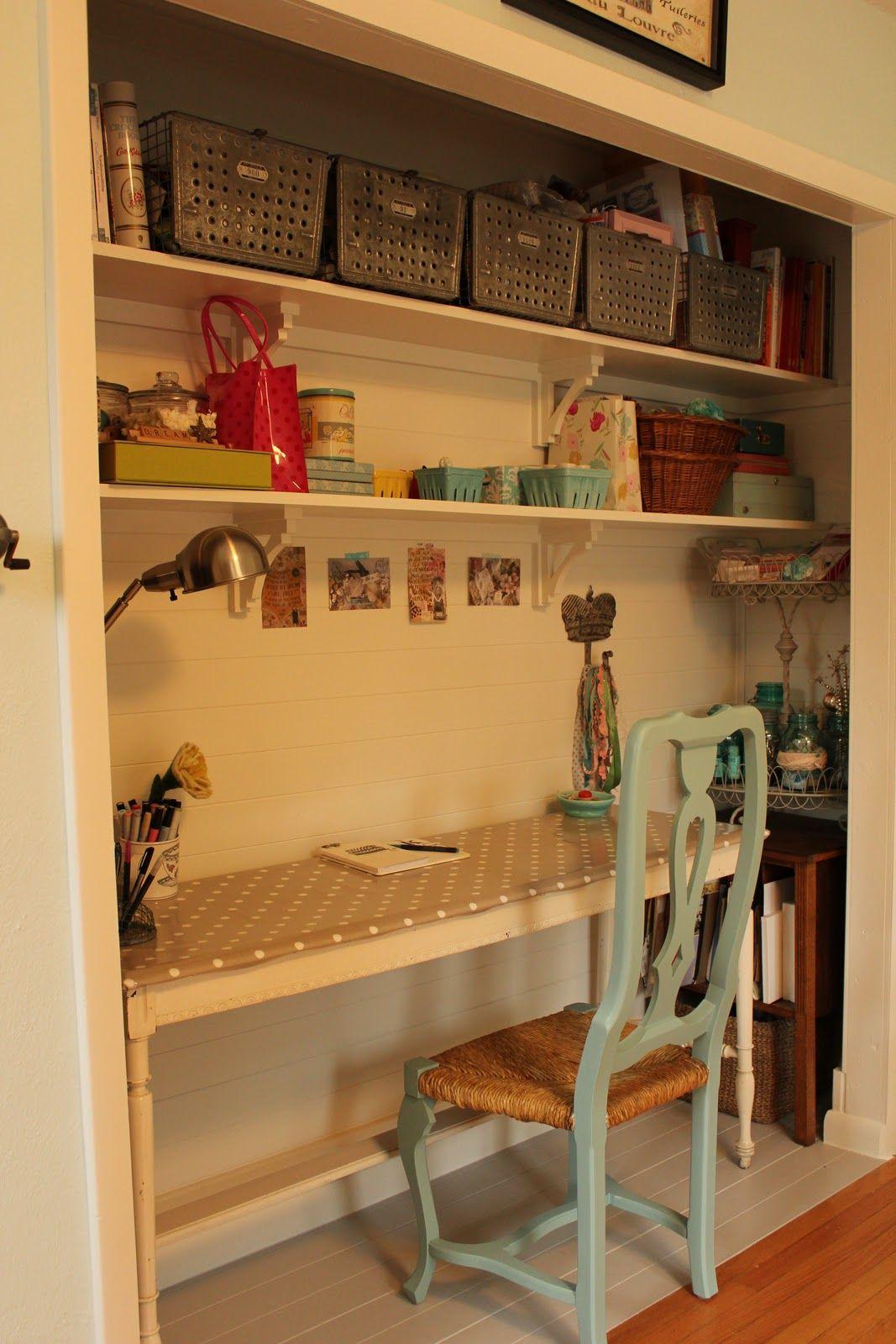 Closet turned desk nook  Work space  Pinterest  Desk