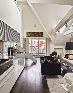 Interior loft decorating ideas with wooden floor and  room kitchen also sofa rh za pinterest