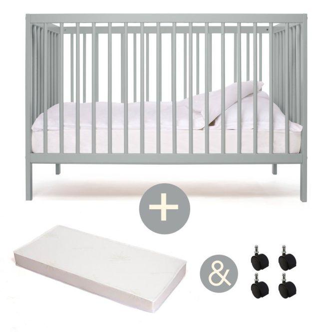 Mokee Mini 120 X 60 Cm Baby Cot Bed Aloe Vera Mattress Caster