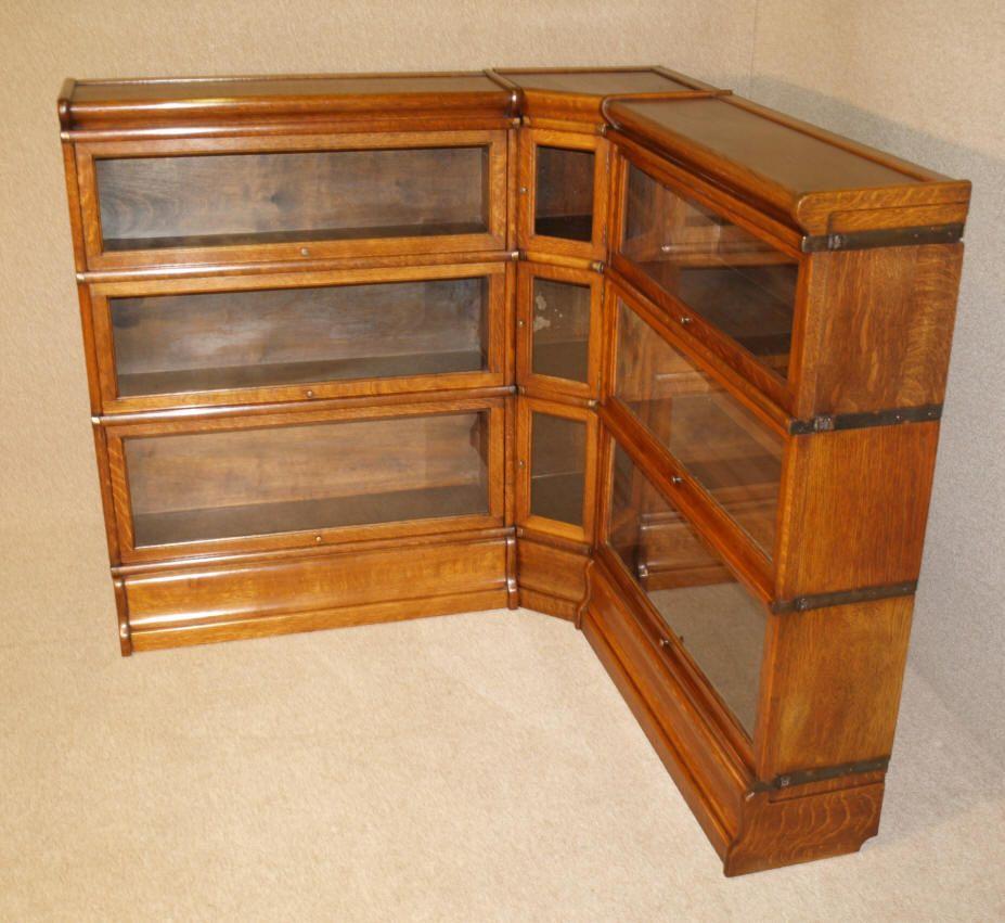 Rare Antique Oak Corner Globe Wernicke Barristers Bookcase