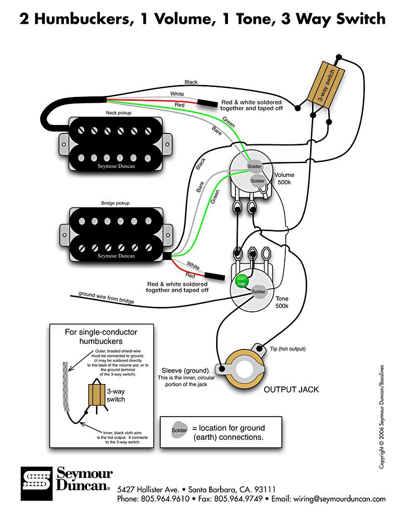dimarzio humbucker 2wire diagram