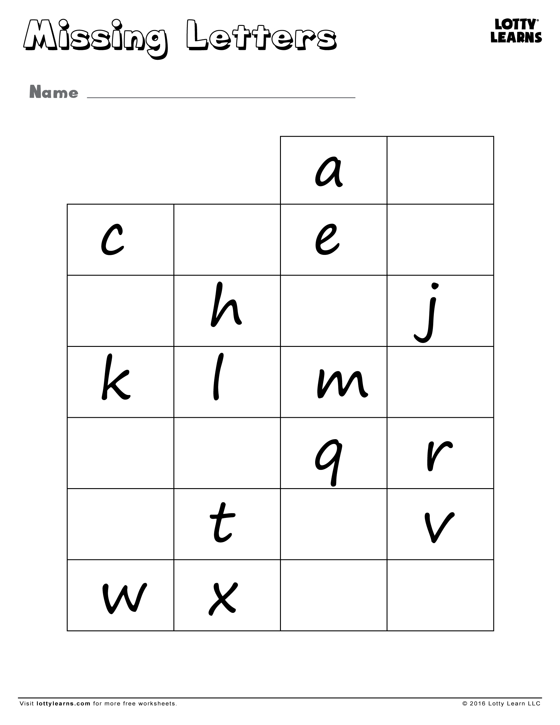 Missing Lowercase Letters