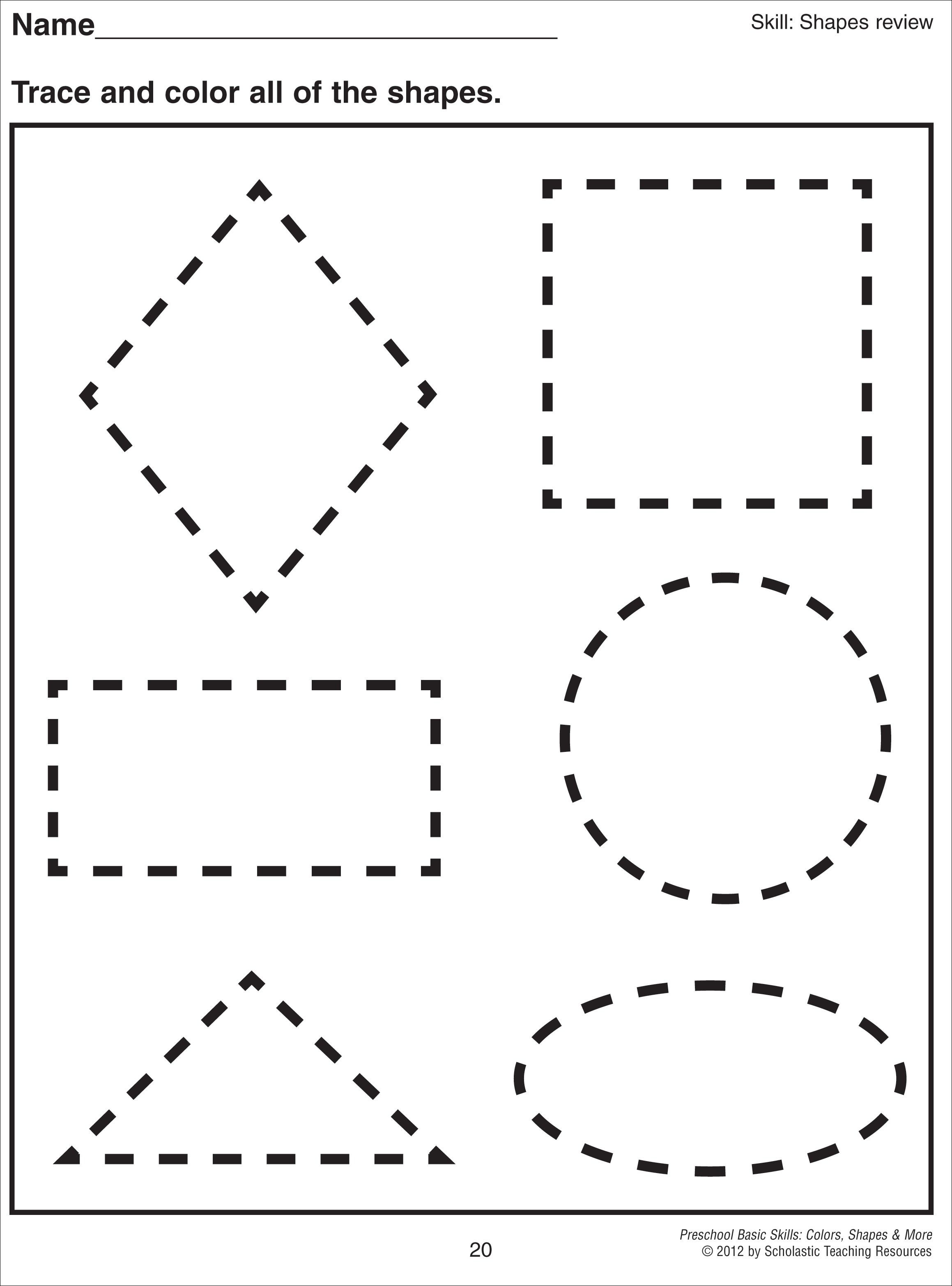Math Worksheet Images About Preschool Shapes On
