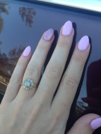 Pastel pink manicure with glitter good for short stiletto ...