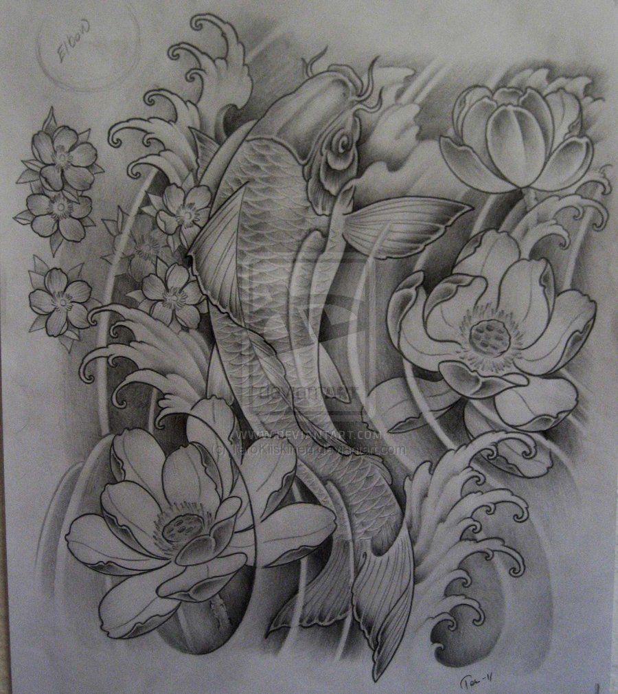 Koi Fish And Lotus Flower Tattoos On Leg